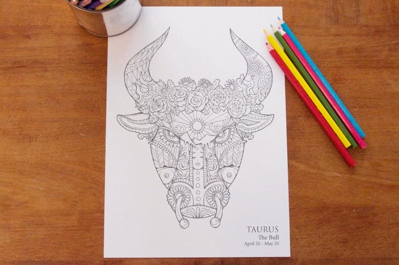 Taurus   Instant PDF Download A4  Sign of the Zodiac image 0