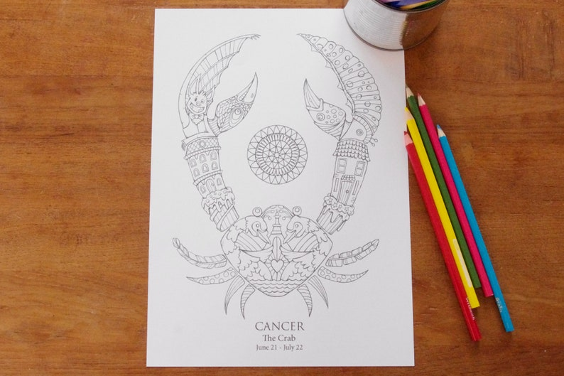 Cancer   Instant PDF Download A4  Sign of the Zodiac image 0