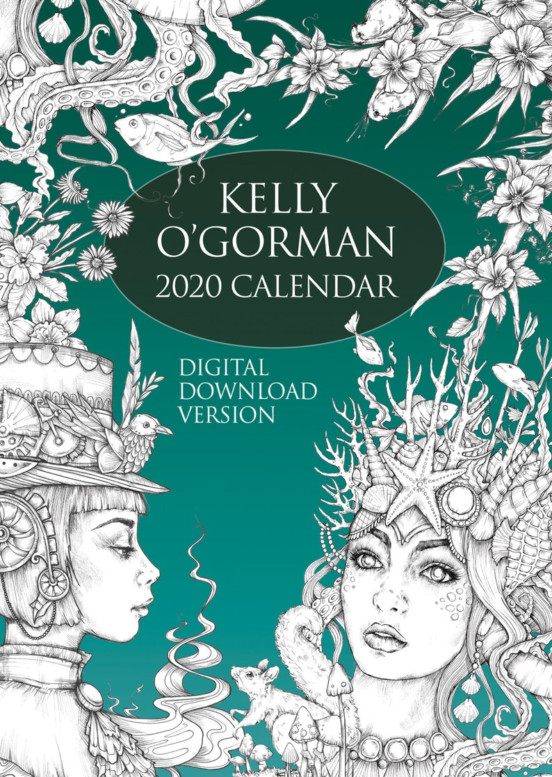 Digital Download Version   Colouring Calendar 2020 by Kelly image 0