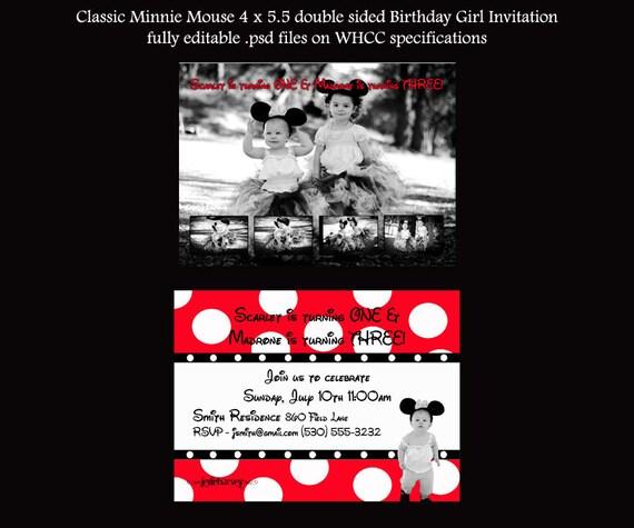 Classic Minnie Mouse Birthday Girl Invitation You Create