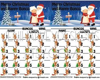 Santa & Mrs. Claus Bunco Score Card