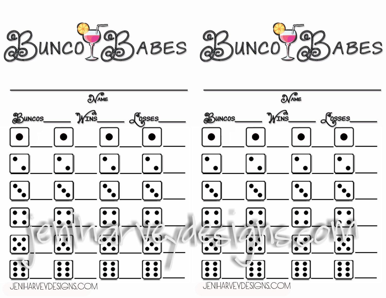Bunco Babes Bunco Score Sheet Etsy