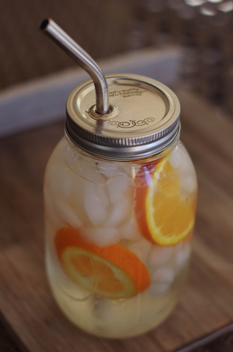 Large Mason Jar Cup Or Mug With Stainless Steel Smoothie Straw Etsy