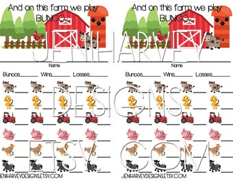 Farm Bunco Score Card