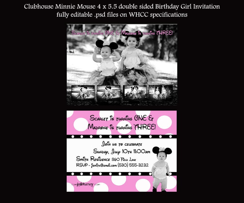 Clubhouse Minnie Mouse Birthday Girl Invitation You Create