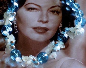 Vintage Necklace Ice Blue Circa 1950's