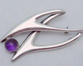 925 Sterling Vintage Mexico Sigi Pineda Tiger Eye Gem Modernist Pin Brooch Diamonds & Gemstones Jewelry & Watches
