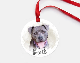 Personalized Pet Ornament - Watercolor Pet Portrait