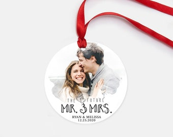 Future Mr and Mrs - Personalized Photo Christmas Ornament