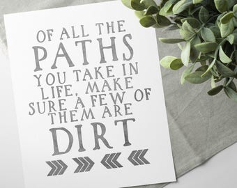 Nature Lover Gift - Gifts For Travelers - Travel Quotes - Adventure Gifts - John Muir Quote - Printable Quotes - Of All The Paths You Take