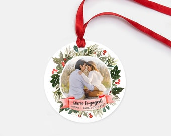 Watercolor Engagement Art - Engagement Christmas Ornament