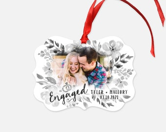 Personalized Engagement Christmas Ornament - Engaged Gift