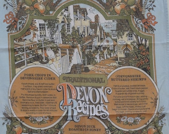 Vintage Devon Recipes Tea Towel, Vista, Food, Nutrition, Cooking, Baking, Linen, Kitchenalia, Dishcloth, Towel, Camping, Retro