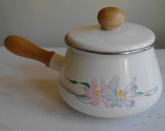 Vintage Enamel Pan, Floral Pan, Fondue Pan, Fondue Pot, Pots & Pans, Saucepan, Pan, Camping, Kitchen, Waterlily, Iris, Cooking, Circa 1980