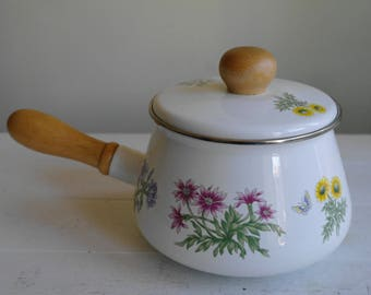 Vintage Enamel Pan, Floral Pan, Fondue Pan, Fondue Pot, Pots & Pans, Saucepan, Pan, Camping, Kitchen, Country Flowers, Cooking, Circa 1980