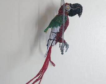 Vintage African Beaded Bird, Parrot, Macaw, Bird Lovers, Beaded Animals, Hanging Parrot, Parrot Lovers, Gifts, Home Decor