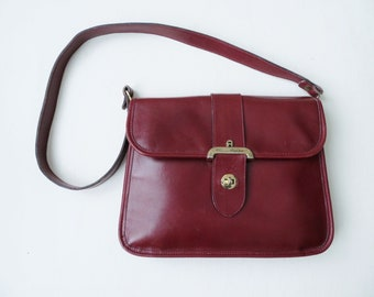 d89efb72cc23 Etienne Aigner oxblood brown leather shoulder bag with hand made signature  logo