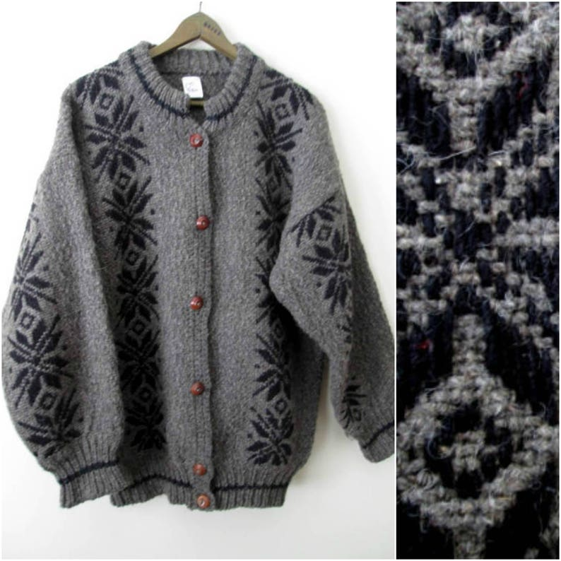 90d33d31d8 Oversized cardigan grey black boho sweater jacket chunky