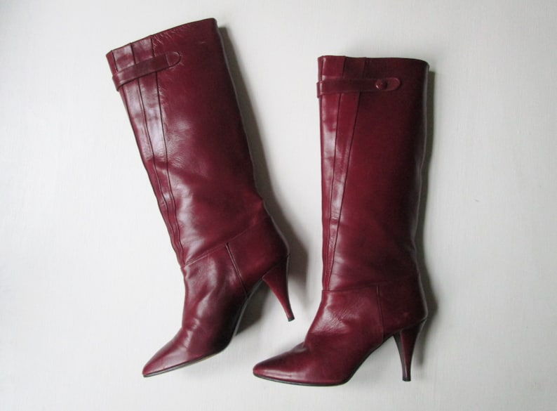 e1964d51f90a Tall boots oxblood burgundy dark red Spanish leather high