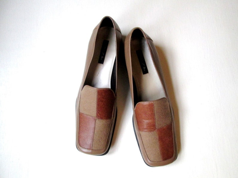 338ba85aff0 chunky loafers, block heels & square toes, tan brown leather patchwork slip  on shoes, colorblock shoes, vintage 90s shoes, women 8 B