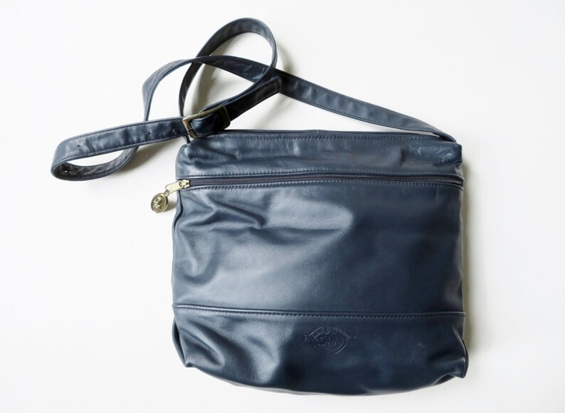 fad1246a87 Crossbody bag navy blue leather hobo bag Stone Mountain