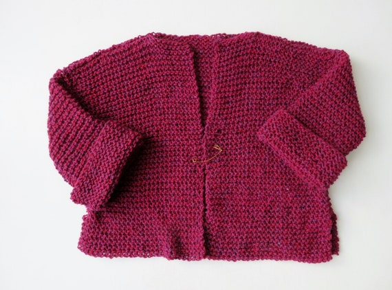 Cropped cardigan hand knit sweater burgundy heather tweed  a42ebb084