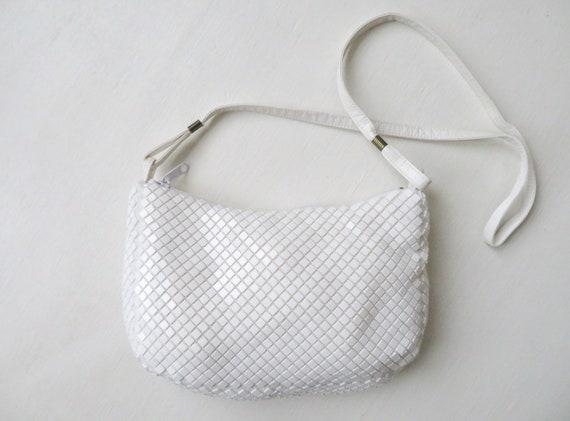white shoulder bag, long strap purse, plastic tile