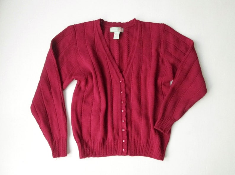 492a96a31a9260 Cranberry red cardigan oversized sweater vintage 90s womens