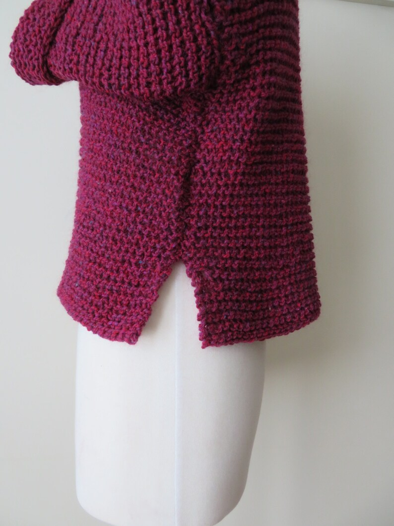 a1170959e794 Cropped cardigan hand knit sweater burgundy heather tweed