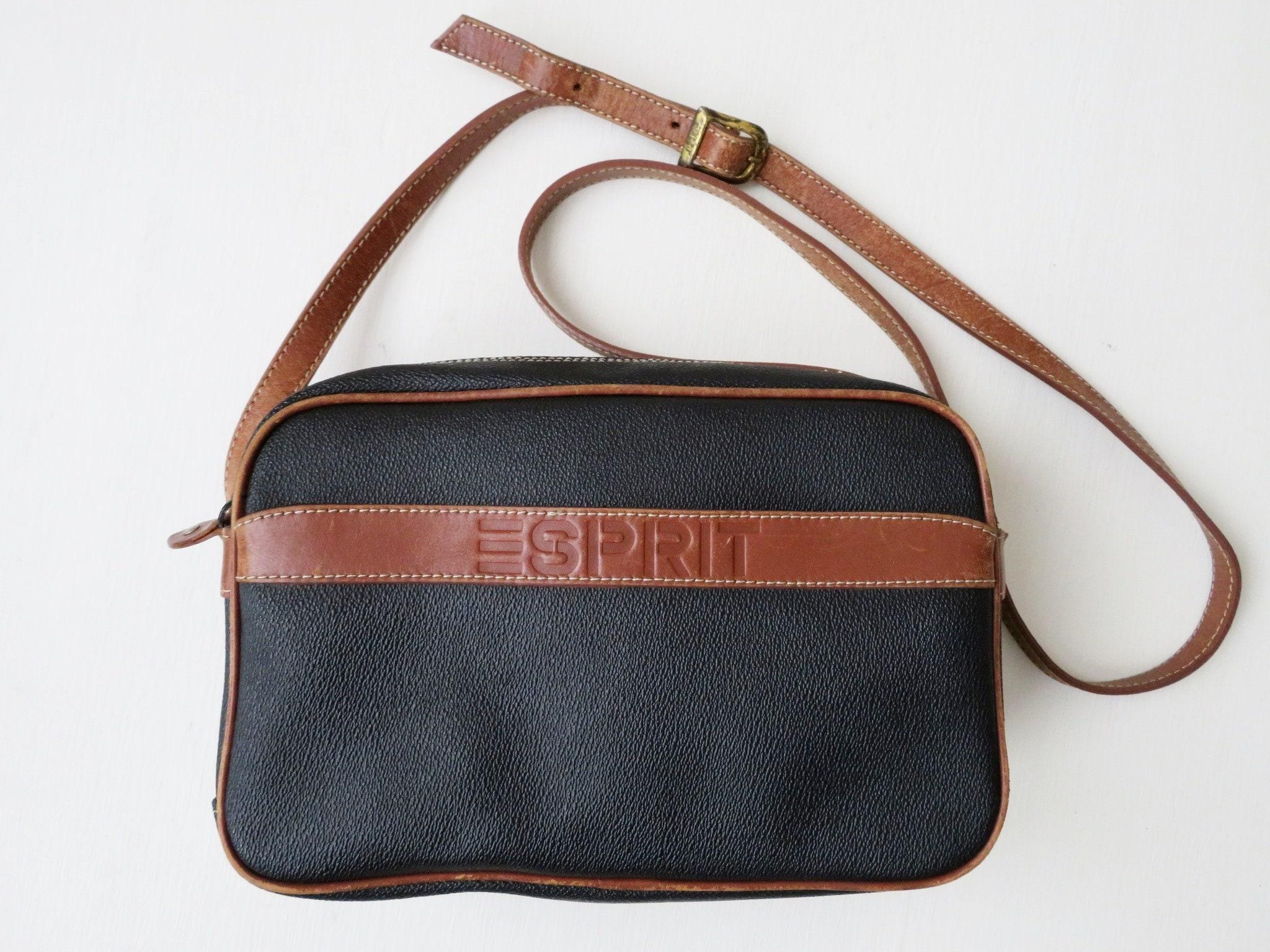 c17aec94643f4 Crossbody-Tasche lange Gurt Geldbörse schwarz und tan