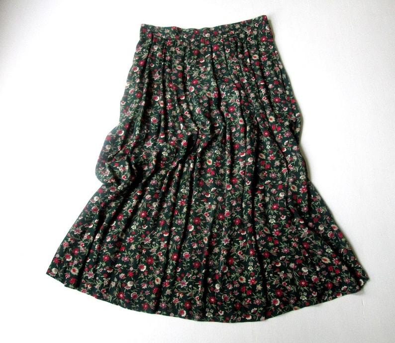 f72bed78ee Floral print skirt long boho skirt dark green red flowers | Etsy