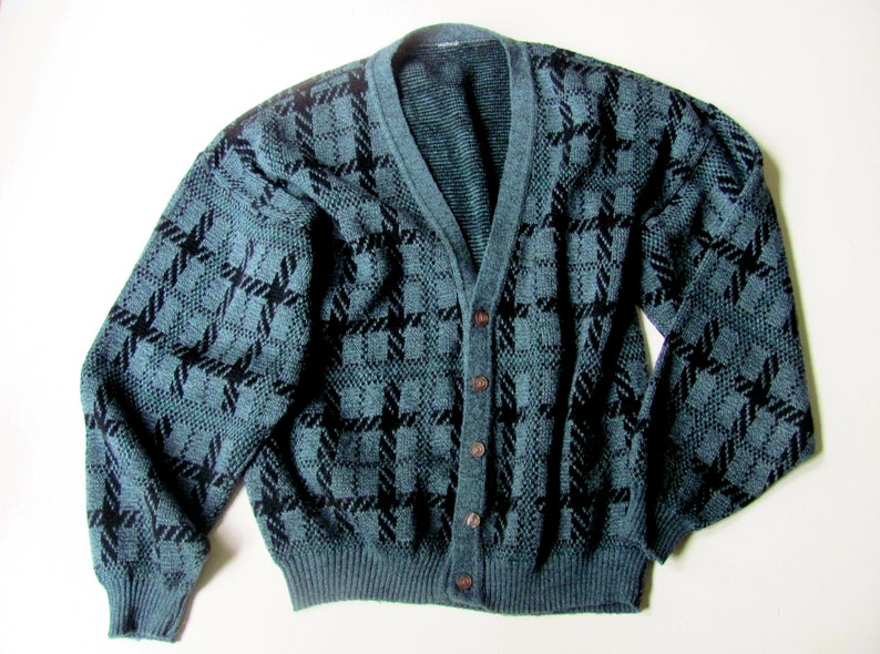 b78d1e7144 Oversized cardigan slouchy baggy patterned sweater vintage