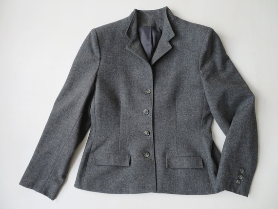 grey wool jacket, 40s style fitted blazer, vintage
