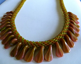 """Beaded Kumihimo necklace with rose/olivine duckbill paddle beads, statement necklace, """"Tropical Forest"""""""
