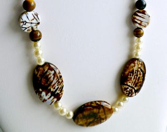 Brown and white amber agate, tiger eye and pearl necklace, gifts for her, birthday anniversary gift, statement necklace