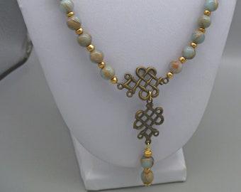 Impression jasper gemstone statement necklace, gift for her, birthday-anniversary gift, wife girlfriend gift, infinity accents
