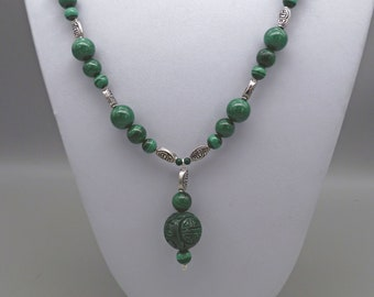 Green malachite gemstone and silver statement necklace with carved malachite ball pendant, gift for her, birthday/anniversary gift