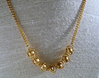 Gold caged Swarovski bead in Byzantine chainmaille weave, statement necklace, birthday/anniversary gift, gift for her, wedding gift