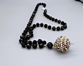"""Hand knotted faceted black crystal with multi-colored rhinestone """"disco ball"""" pendant, statement necklace, gift for her birthday anniversary"""