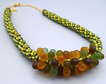 Green/yellow beaded Kumihimo necklace with frosted jellybean cluster center, statement necklace, gift for her, birthday-anniversary gift
