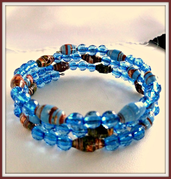 Handcrafted blue paper bead bracelet on memory wire recycled