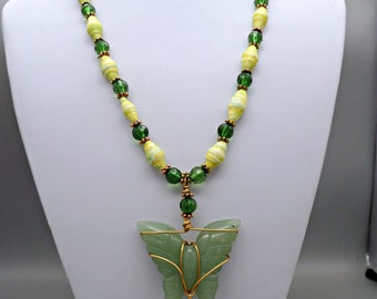 Handmade green paper beads with faceted green acrylic beads accenting jade wire wrapped carved butterfly pendant, statement necklace