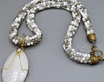 Beaded Kumihimo necklace white with silver lined swirl and wire wrapped white quartz pendant, statement necklace, wedding anniversary gift,