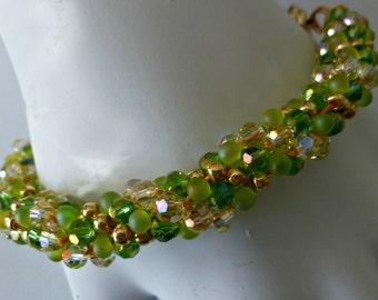 Sparkling Swarovski & bead Kumihimo bracelet with magnetic clasp