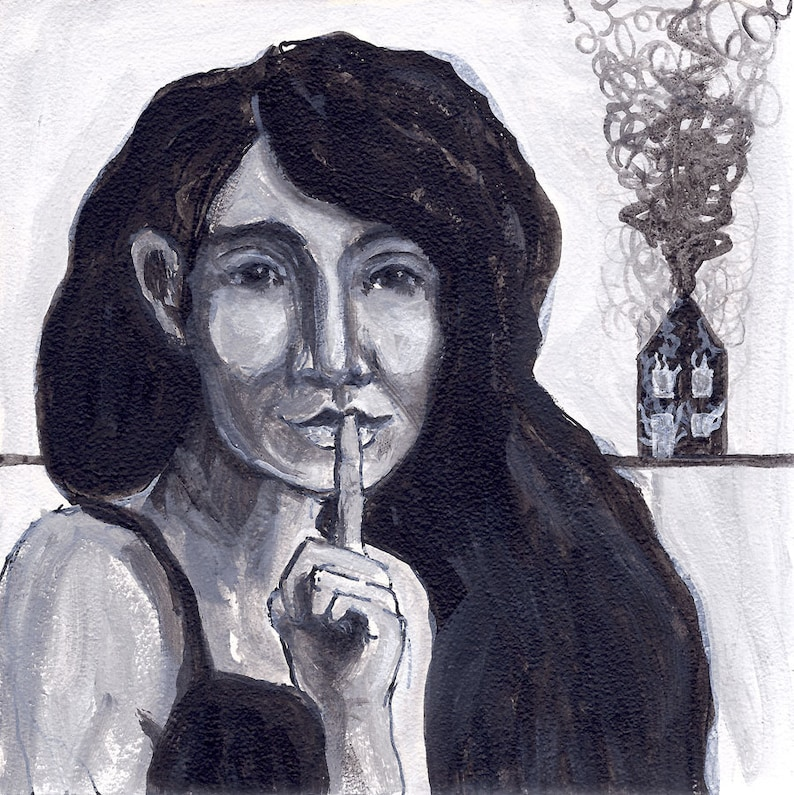 original portrait painting  black and white  secrets  woman image 0