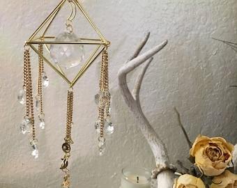 Crystal Sun Catcher, gold crystal suncatcher, moon hanging, rainbow maker window, moon suncatcher, crystal window hanging, moon hanging