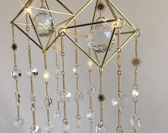 Sunburst Suncatcher, moon sun suncatcher, suncatcher crystal celestial crystal hanging, crystal window decor, boho gift, boho home decor