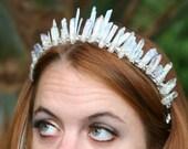 Kyanite Kaia Crown, kyanite crystal crown, angel aura crown, quartz crown, mermaid crown, raw crystal crown, crystal cowboy hat band