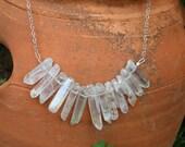 Angel Aura Quartz Necklace, raw crystal necklace, aura quartz necklace, raw stone necklace, chakra necklace