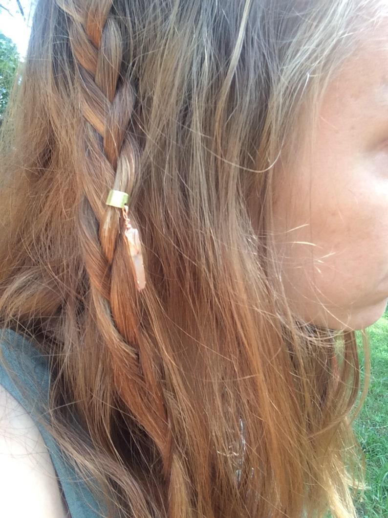 crystal hair accessory crystal hair wrap brass ear cuff aura quartz ear cuff quartz ear cuff quartz hair jewelry Crystal ear cuff